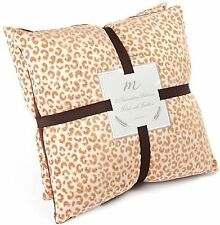 """NWT SET of 2 Home Fashions Taupe Leopard Decorative Pillows 18""""x18"""" DOWN FILLED"""