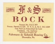 F & S 1/4 Keg Bock IRTP Label