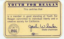 1966 Youth for Ronald Reagan for Governor Membership Card