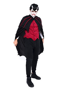 Adult Men Hooded Robe Cloak Cape Party Halloween Vampire Cosplay Costume Dracula