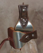 "Custom 5"" Bell Stirrups Metal Bound Brown Leather Side Shields Star Conchos G&E"