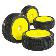 COMPLETE SET BUGGY RACING TYRES Wasper Super Soft 1:8 with Dish Rims Yellow 4
