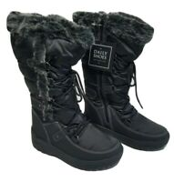 Daily Shoes Alaska-01 Fur Warm Black Winter Boots Water Resistant Women Size 7.5