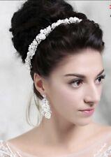 Bridesmaids Bridal White Vintage Style Pearl Crystal White Rose Hair Piece Tiara