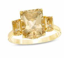 Zales Emerald-Cut Yellow Beryl and 0.079 CT. T.W. Diamond Three Stone Gold Ring