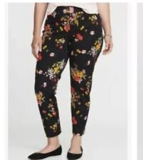 NWT Old Navy Mid-Rise Ankle Length Pixie Black Floral Pants Plus Size 26 Pockets