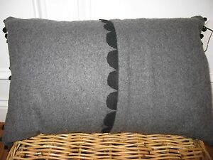 Vera Wang FRENCH PAISLEY Pom Poms Grey Wool Rectangle Decorative Pillow $150