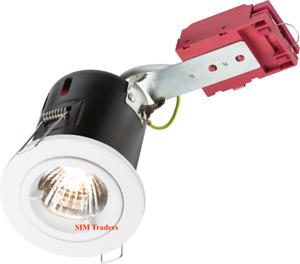 Knightsbridge 230V 50W Fixed GU10 Ic Fire-Rated Downlight In White/Chrome