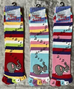 3 Pairs Toe Socks Stripey Striped Elephant Music Motif Rainbow Fun And Warm