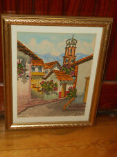 Signed DIAZ Watercolor Mexican Street Scene IMPRESSIONIST Our Lady Guadalupe