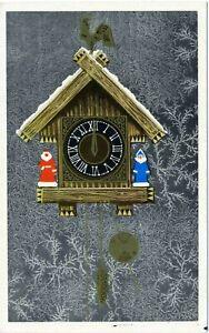 1973 Happy New Year Santa Snow maiden Clock Russian Unposted postcard