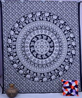 Indian Elephant Psychedelic Tapestry Wall Hanging Mandala Throw Cotton Bedspread