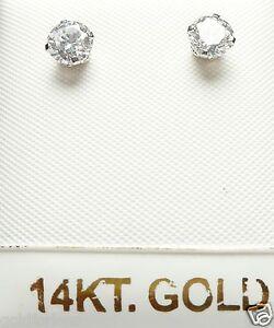 14kt YELLOW GOLD 5MM Cubic Zirconia Stud Earring14K Backs-GIFT BOX-FREE SHIPPING