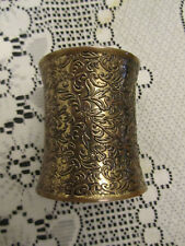 "Tarnished Brass Tone 3"" long Floral Pattern Bangle"