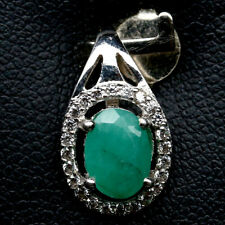 NATURAL 5 X 7mm. GREEN EMERALD & WHITE CZ STERLING 925 SILVER PENDANT