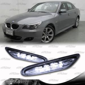 Clear Lens White LED Side Marker Signal Lights For 2003-2009 BMW E60 5-Series
