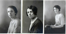 Lot Of 3 Antique Original Postcards - Ladies - 1925, (RP)
