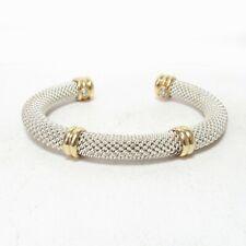 Heavy Designer Estate Sterling Silver And 18K Yellow Gold Mesh Cuff Bracelet