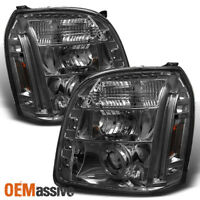 Fits Smoked 07-12 GMC Yukon Denali Halo Projector LED Headlights Lamp Left+Right