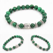Natural Malachite Stone Beads Bangle Sliver Buddha Energy Stone Yoga Bracelet*