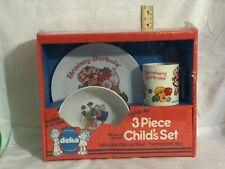 RARE Vintage 1982 Deka Melamine STRAWBERRY SHORTCAKE 3 Piece Child's Set  (A645)