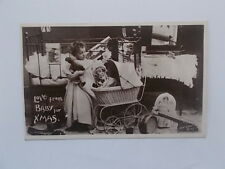 VINTAGE CHRISTMAS CARD POSTCARD - LOVE FROM BABY FOR XMAS - REAL PHOTOGRAPHIC