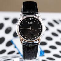 Casio MTP-1094E-1A Men's Black Silver Analog Watch Leather Band Quartz New