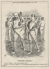 ANTIQUE 1897 PRINT CRICKET MATCH BAT WICKET PADS GAME LORDS TEST PADS WHITES