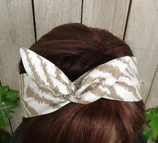 Dolly Bow Wired  Tan Tiger Print Rockabilly Hair Scarf Wire Headband