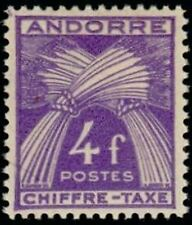 "ANDORRE FRANCAIS STAMP TIMBRE TAXE N° 28 "" CHIFFRE-TAXE 4F "" NEUF xx TTB"