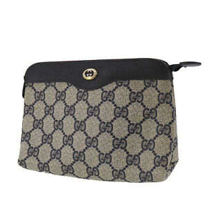 GUCCI GG Plus Pouch Bag Navy PVC Leather Italy Vintage Authentic #AC275 O