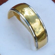 Solid Titanium Dome Band Smooth Stepped Edge-Gold IP Comfort Fit Band, size 7