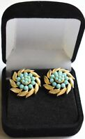 1950s Vintage Trifari crown Turquoise and gold tone floral Clip on Earrings