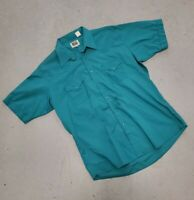 Ely Cattleman Short Sleeve Teal Pearl Snaps Cowboy Western Shirt Size L/XL 17
