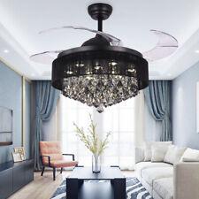 LED Crystal Fan Chandelier Living Room Ceiling fan dining room Fixture Lighting