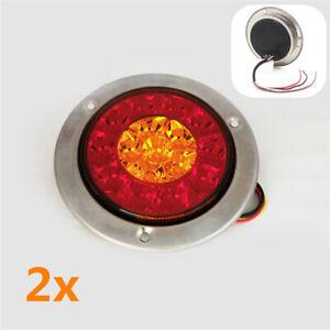 """5.5"""" LED 12V Truck Trailer Tail Stop Brake Light Turn Signal Indicator Red Amber"""