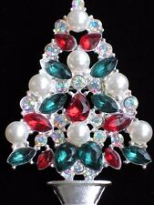 "SILVER AB RED GREEN RHINESTONE PEARL CHRISTMAS TREE PIN BROOCH JEWELRY 2.25"" LRG"