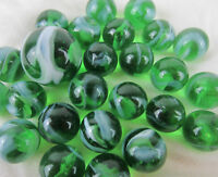 25 Marbles ENCHANTED FOREST Green Glass White Swirl game pack vtg style Shooter