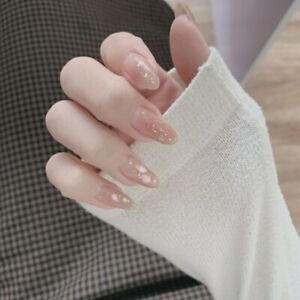 Nude Glitter Gold Foil False Nails Summer Long Oval Full Fake Press on Nail Glue