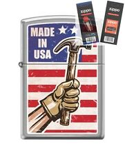 Zippo 200 Made In USA Hammer Lighter with *FLINT & WICK GIFT SET*