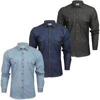Xact Mens Long Sleeved Denim Shirt - Slim Fit  Xmas