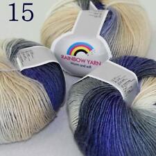 AIP Soft Cashmere Wool Colorful Rainbow Shawl DIY Hand Knitting Yarn 50grx3 15