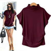 Women Turtleneck Short Sleeve Cotton Solid Casual Blouse Top T Shirt Plus Size