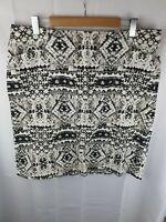 SPORTSCRAFT Black Beige White Cotton Skirt Womans Size 16