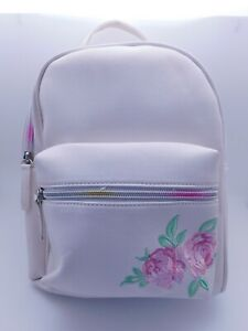 White With Roses Mini Backpack