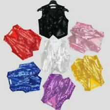 Unisex Sequin Vest Waistcoat Dance Party Show Costume Boys & Girls UK