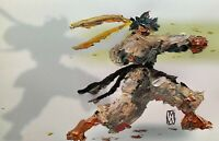 """ORIGINAL Abstract Makoto Street Fighter Video Game Fighting Art Painting 11x17"""""""