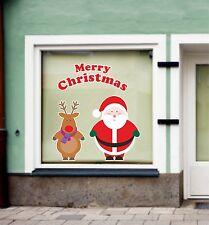 Visualizzazione finestra Adesivo Buon Natale Babbo E Rudolph