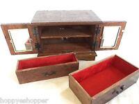Vintage Japanese Wood Music Jewelry Box 2 Doors Drawers Mirror Red Velvet