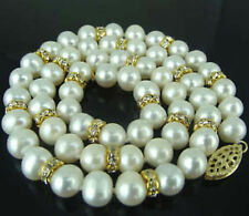 8mm White Akoya Cultured Shell Pearl Necklace Earring Set 18'' AA